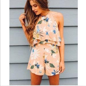 ASTR • Tan Floral Ruffle Halter Romper